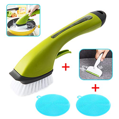 Apusale-Dish Brush Heavy Duty Dish Wand Sponge for Kitchen Sink Cleaning Brush with(1 Dishwands,3 Cleaning Sponges and 1 Silicone Cleaning Sponges) (Big Brush+Lint Remove+Silicone Sponges)