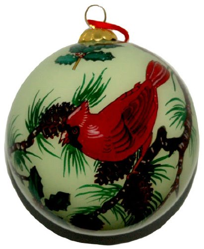 Hand Painted Glass Ornament, Two Cardinals CO-129 - Cardinals Hand Painted Ball Ornament