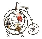 Deco 79 Woodland Imports Woodland Imports Antique High Wheel Bicycle 7 Bottle Wine Rack, Metal