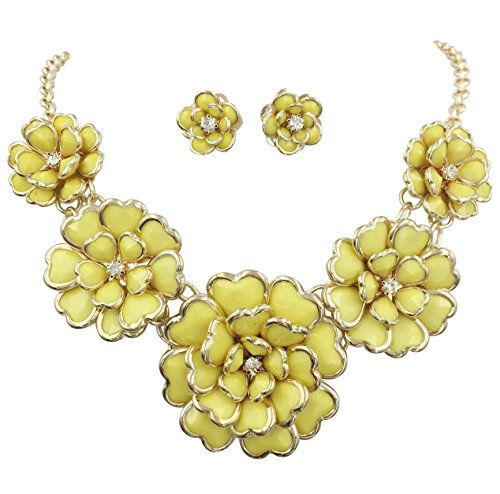 Beaded Yellow Jewelry Set - Gypsy Jewels 5 Flower Large Bib Necklace & Stud Post Earring Set (Bright Yellow)