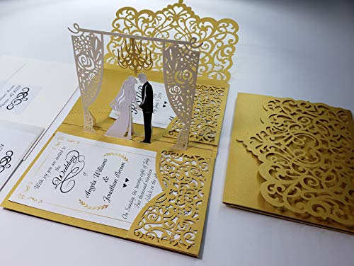 Pop up Wedding Invitation Pocket-Folds with Envelope. Unique and Elegant Laser Cut 3D Design by Tada Cards. Gold Chandelier (10-Pack)