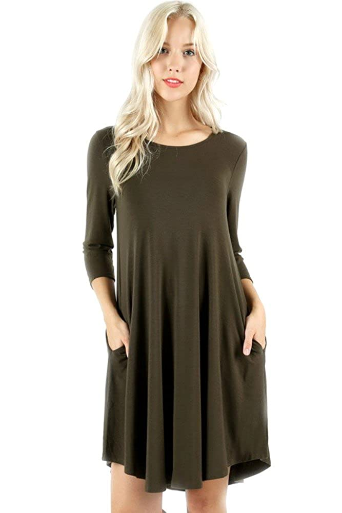 a9338e3dd28 Zenana Plus Sizing Premium 3 4 Sleeve Round Hem A-LINE Dress with Side  Pockets at Amazon Women s Clothing store