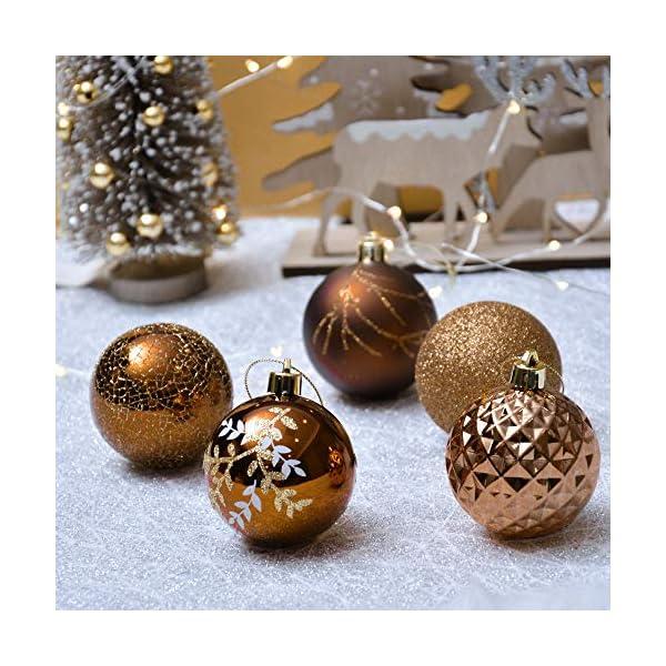 Valery Madelyn Palle di Natale 20 Pezzi 6cm Palline di Natale, Rame da Bosco e Oro Infrangibile Palla di Natale Ornamenti Decorazione per la Decorazione Dell'Albero di Natale 5 spesavip