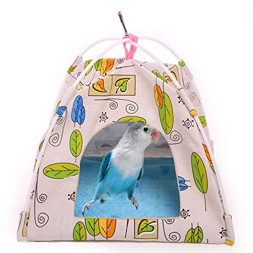 Birdcage Canvas - QBLEEV Bird Nest Hut Hammock,Parrot Tent House Bed Habitat Hideaway Reversible Cushion Mat Placed onto The Birdcage by a Metal Clasp,Fit for Budgerigar Parakeet Macaw Amazon Cockatoo Lovebird