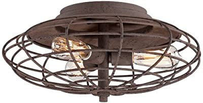 "Industrial Cage Dark Rust 8 1/2"" High Ceiling Light Fixture"