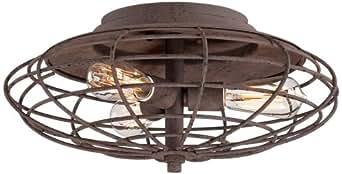 "Industrial Cage Dark Rust 8 1/2"" High Ceiling Light"