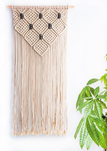 Macrame Wall Hanging Bohemian Art Home Decor – Tribal BOHO Chic Apartment Dorm Living Room Bedroom Decorations, Rustic Cotton Fiber Woven Tapestry, 16…