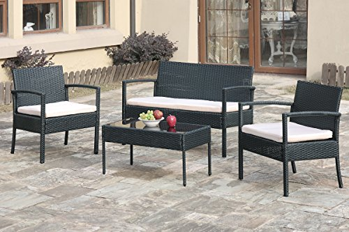 EBS My Furniture Garden Pool Rattan Wicker Patio Sofa Chair Table Set, Balcony Outdoor Set, 4 Piece - All-weather chair cushion covers repel water and moisture Quick and easy assembly using the included hardware, as tabletop made of tempered glass for added safety and spot clean only Chair measures 23 w x 23.5 d x 28-inches h, coffee table measures 29.5 w x15.5 d x 14.5-inches h, loveseat measures 41.5 w x 24 d x 28-inches h - patio-furniture, patio, conversation-sets - 51BT2EUHleL -