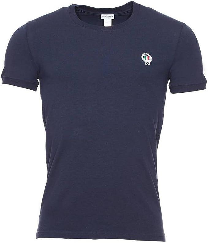 Camiseta Dolce & Gabbana Deporte Cresta Cuello Redondo Hombres, Marina De Guerra: Amazon.es: Ropa y accesorios