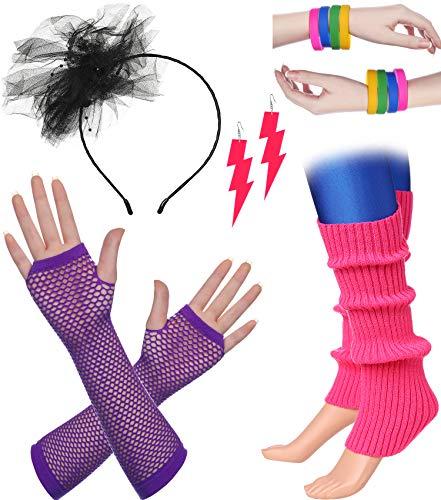 BABEYOND 80s Outfit Costume Accessories Neon Earrings Fishnet Gloves Leg Warmers Headband Bracelets (Set -
