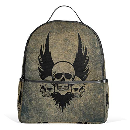 Skull Crossbones Wings - MUOOUM Awesome Skull Crossbones Wings Backpack Casual Daypack School College Travel Bag for Teens Boys Girls