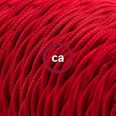 Cable Eléctrico Trenzado Recubierto en Tejido Efecto Seda Color Sólido, Rojo TM09-5 Metros, 3x0.75