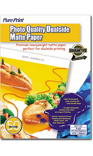PurePrint Photo Quality Dualside Matte Paper - 8.5inx11in (50 Sheets)