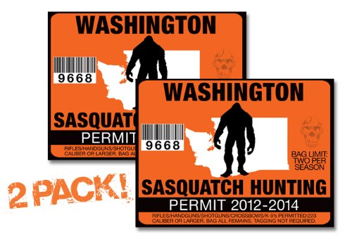 Washington-SASQUATCH HUNTING PERMIT LICENSE TAG DECAL TRUCK POLARIS RZR JEEP WRANGLER STICKER 2-PACK!-WA