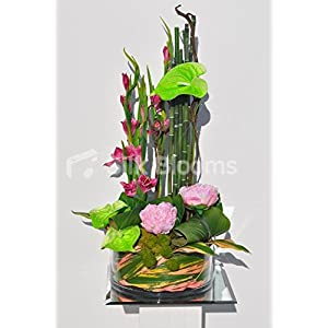 Tropical Artificial Green Anthurium, Pink Gladioli and Pink Peony Floral Table Arrangement 10