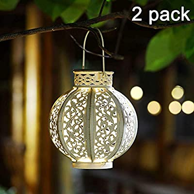 MAGGIFT 2 Pack Hanging Solar Lights Outdoor Solar Lights Retro Hanging Solar Lantern with Handle
