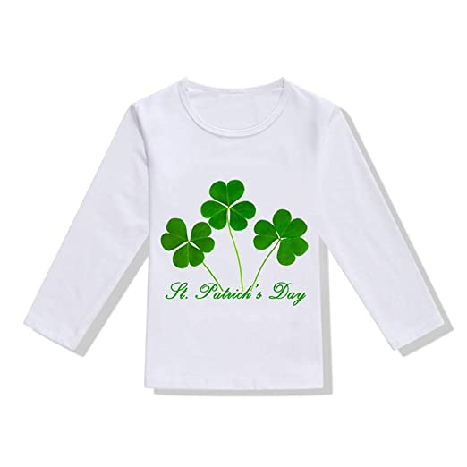 4392449c Toddler Baby Girls Boys Shirt St.Patrick's Day Clothes 1-6 Years Old Kids  Long Sleeve Irish National Day Tops