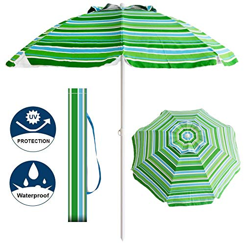 Aclumsy 7′ Portable Beach Umbrella with Tilt and Silver Coating Inside, Integrated Sand Anchor and Air Vent Parasol Sun Shelter, Carry Bag Included (Blue/Green Stripe)