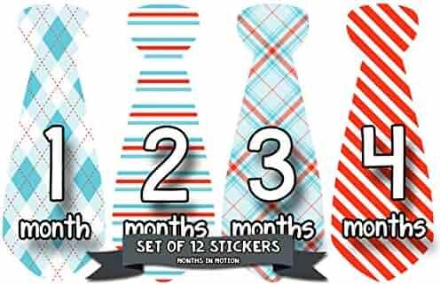 Months in Motion 753 Monthly Baby Stickers Necktie Tie Baby Boy Months 1-12