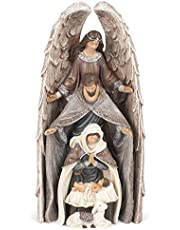 Holy Family Nativity Distressed Brown 11 inch Resin Decorative Tabletop Figurine 4 Piece Set