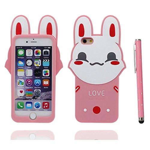 iPhone 7 Plus Coque, Étui iPhone 7 Plus (5.5 pouces), TPU Flexible rose lapin glissement résistant aux rayures, Case iPhone 7 Plus et stylet