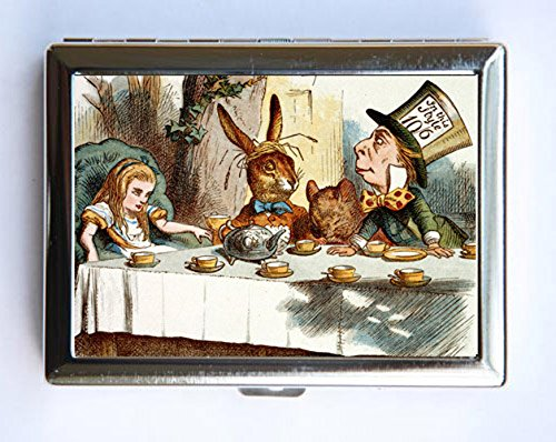 (Alice in Wonderland Tea Party Cigarette Case Wallet Business Card Holder mad hatter fairy tale)