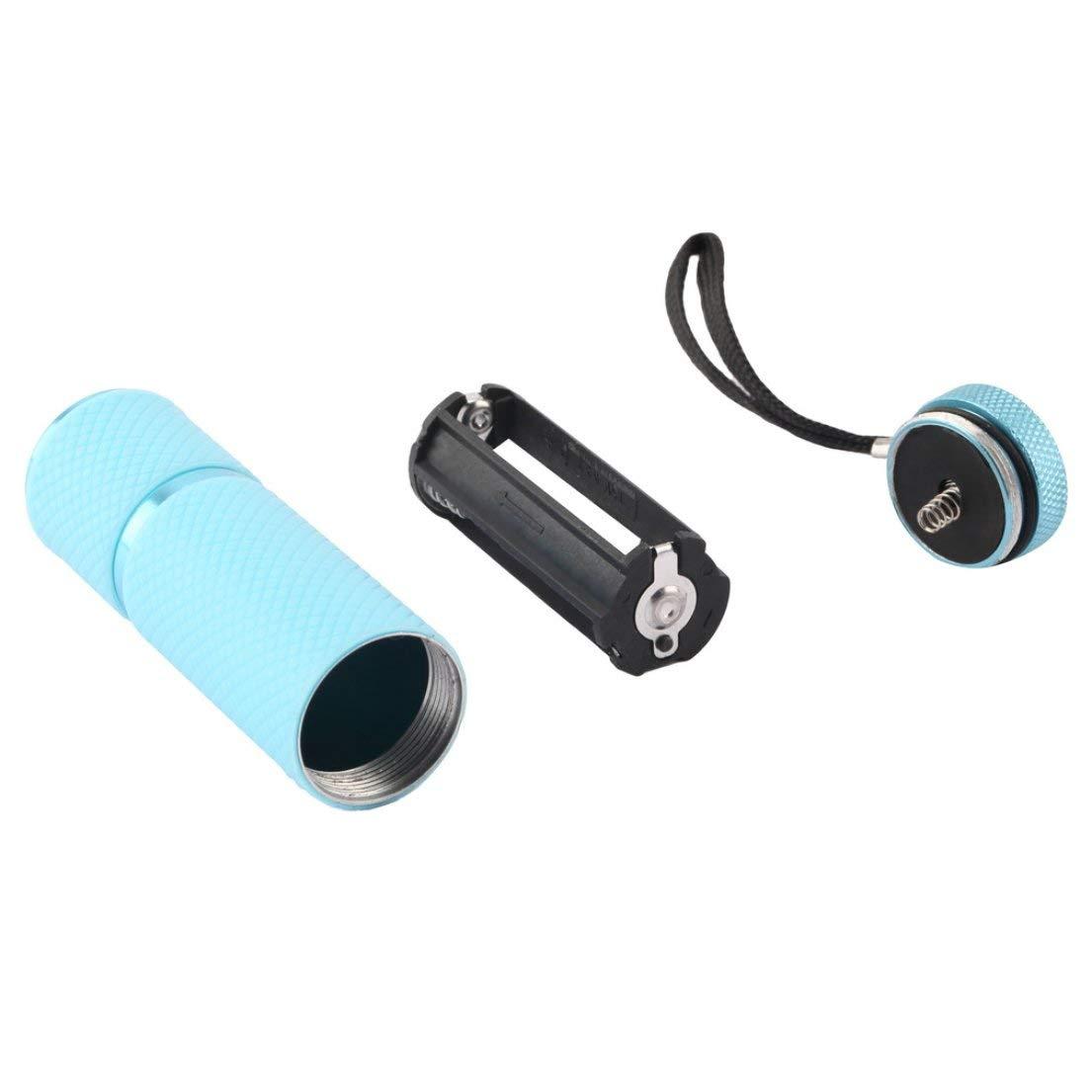 Mini 9 l/ámpara linterna LED secador de u/ñas port/átil UV Gel 15s secado r/ápido esmalte de u/ñas l/ámpara de curado aleaci/ón de aluminio AAA bater/ía