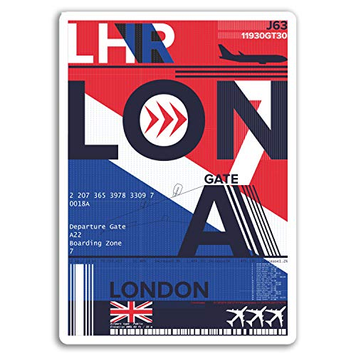 London Heathrow Airport - 2 x 10cm London Heathrow Airport Vinyl Stickers - Sticker Laptop Luggage #17736 (10cm Tall)