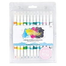 Docraft Artiste Dual Tip Permanent Brush Marker Pens Art/Craft x 12 Pastel