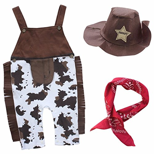 FEESHOW Baby Boys' Western Cowboy Romper Overall Sets