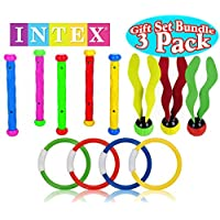 Anillos de juguete de natación subacuática /piscina de buceo INTEX (4 anillos), bastones de buceo (5 bastones) y bolas de buceo acuático (3 bolas) Conjunto de regalo - Paquete de 3