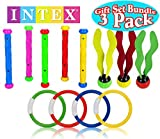 Intex Underwater Swimming/Diving Pool Toy Rings (4 Rings), Diving Sticks (5 Sticks) & Aquatic Dive Balls (3 Balls) Gift Set Bundle - 3 Pack