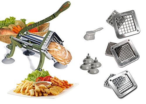 TigerChef TC-20562 Heavy Duty Potato French Fry Cutter Complete Set, Commercial Quality, Includes 1/4'', 3/8'' and 1/2'' Blades and Pusher Blocks, Suction Feet and Cleaning Brush by Tiger Chef