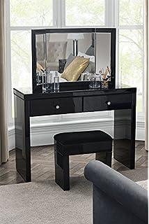 MY Furniture   Venetian Black Glass High Gloss Mirrored Dressing Table /  Console + Triple