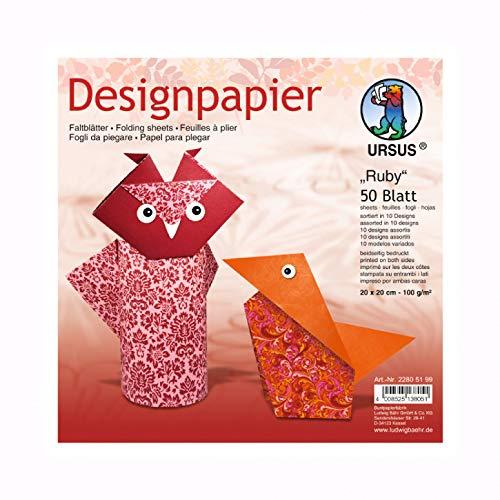 Kreativpapier - Origamipapier - Faltpapier Ruby - 50 Blatt - 20 x 20 cm AS-Druckshop
