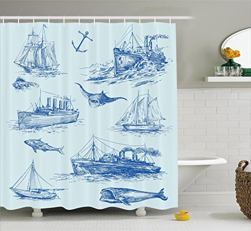 Nautical Decor Shower Curtain Set By Ambesonne, Nautical Undersea Wildlife Shark Ancient Boat Ships Navy Stormy Weather, Bathroom Accessories, 69W X 70L Inches (Shower Undersea Curtain)