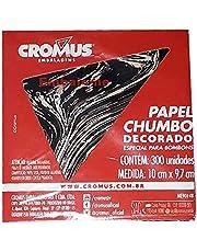 Folha Papel Chumbo de Bombom Preto Marmorizado 10x9,7cm Cromus