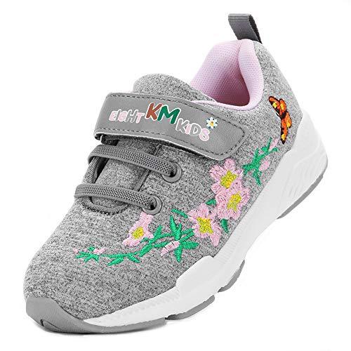 EIGHT KM Girls EKM7006 Sneakers Fashion Fancy Flowery Embroidery Casual Shoes Grey Azalea 13