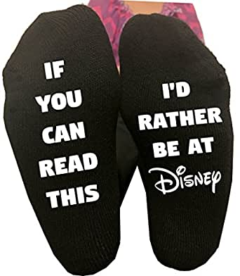 If You Can Read This I'd Rather Be At Disney Socks Womens Vacation Disney World Disneyland Gift
