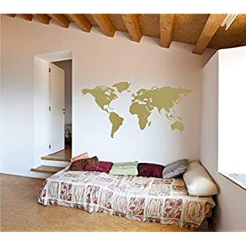 Amazon detailed world map wall decal gold metallic world map vinyl wall art sticker earth home decor removable sticker easy to apply wall graphic gold 22x32 inches gumiabroncs Image collections