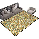 "Abstract Household Decorative Floor mat Circular Interlace Inner Rounds Oval Shaped Overlapping Vintage Forms Artsy Design 78""x94"",Can be Used for Floor Decoration"