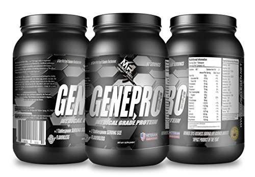 Medical Grade Protein, GENEPRO by Musclegen Research - Premium Protein for Absorption, Muscle Growth & Mix-Abilty. Gluten Free, No Sugar, Flavorless and Mixes with any Drink. 60 Servings 2.1 (Cheap Wholesale Items)