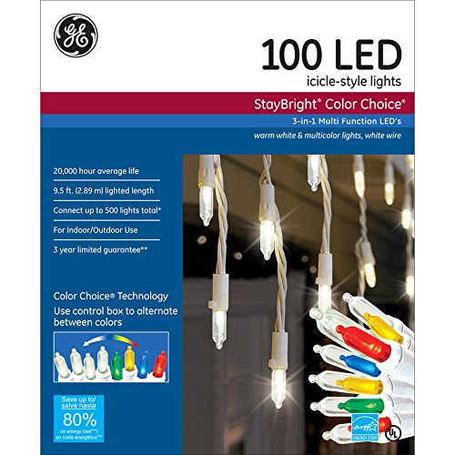 ge staybright 100 count indooroutdoor multi function color changing led christmas icicle lights energy star choice