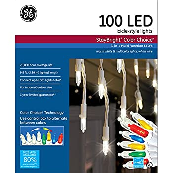 GE Staybright 100-Count Indoor/Outdoor Multi-Function Color Changing LED Christmas Icicle Lights ENERGY STAR Choice