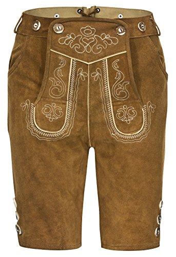 Herren Trachten Kurz Lederhose mit Träger hellbraun,50