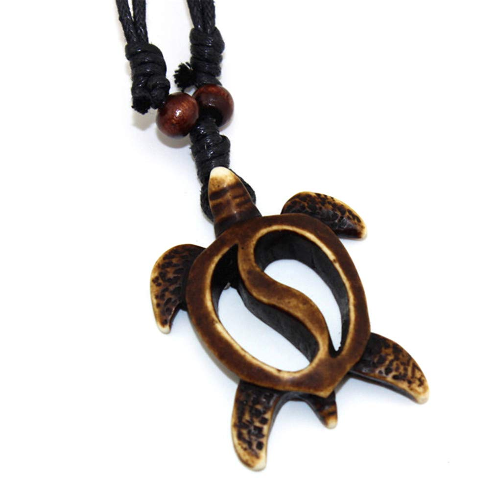 Eleusine Imitation Yak Bone Carved Turtles Hollow Pendant Necklace for Men Or Women Brown