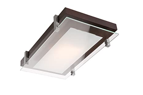 Plafoniere In Legno E Vetro : Plafoniera lampada soffitto in legno vetro mod pd e27 rettangolare