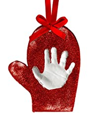 Tiny Ideas Baby's Print Holiday Keepsake Ball Ornament with Included Paint for Handprint