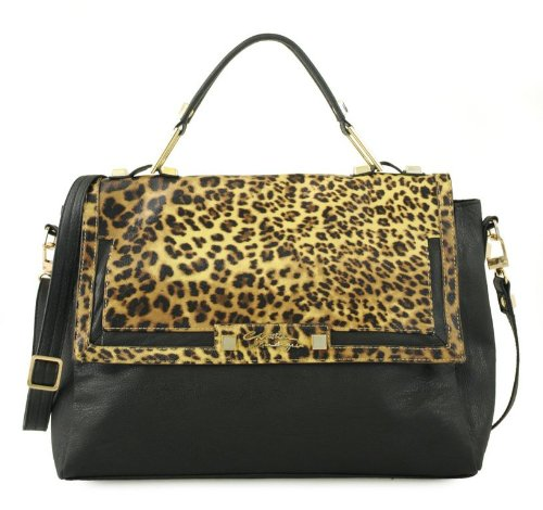 Wanda Messenger Leopard Animal Print Bag-black/brown Leopard (Christian Audigier Womens Leopard)