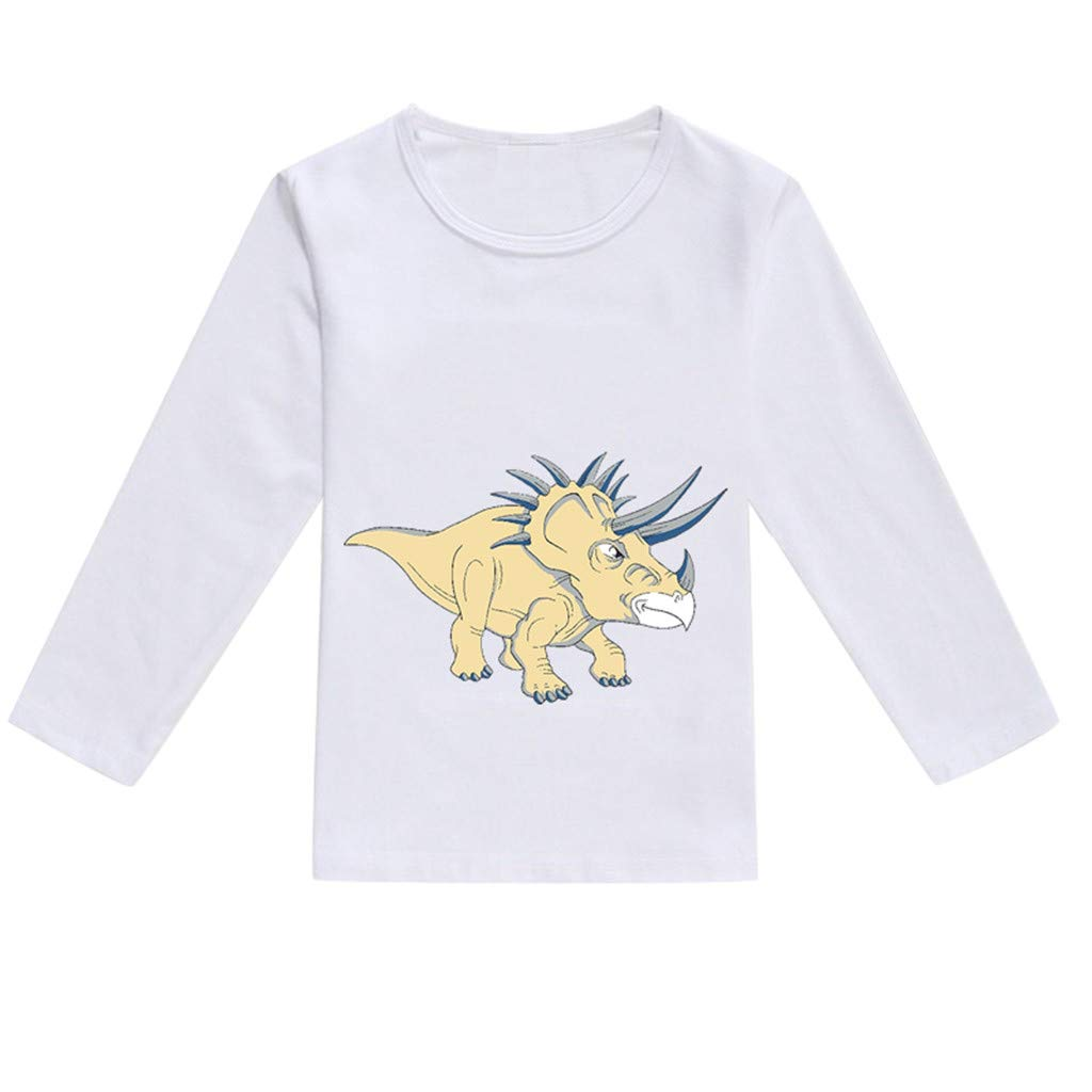 NUWFOR Toddler Baby Kids Boys Girls Spring Dinosaur Print Tops T-Shirt Casual Clothes(Khaki,12-18 Months)